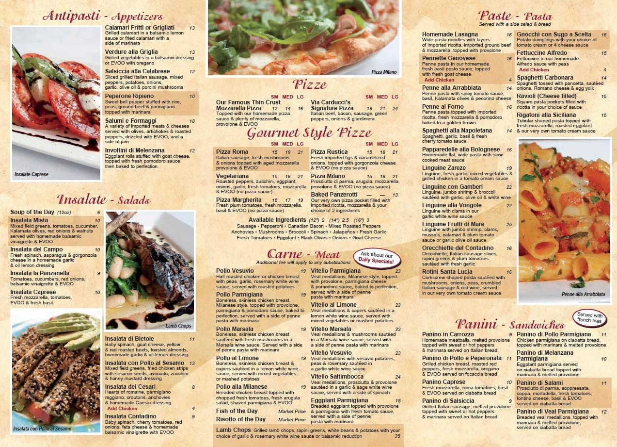 Via carducci carry out menu for Carryout menu